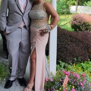 Pink a silver sparkly prom dress with slit